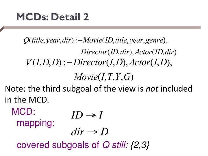MCDs: Detail
