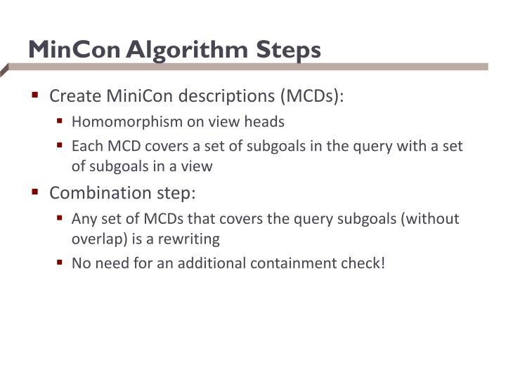 MinCon Algorithm Steps