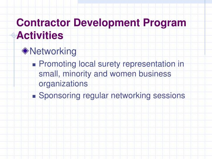 Contractor Development Program Activities