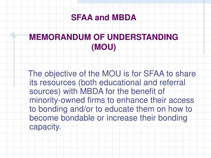 Sfaa and mbda memorandum of understanding mou