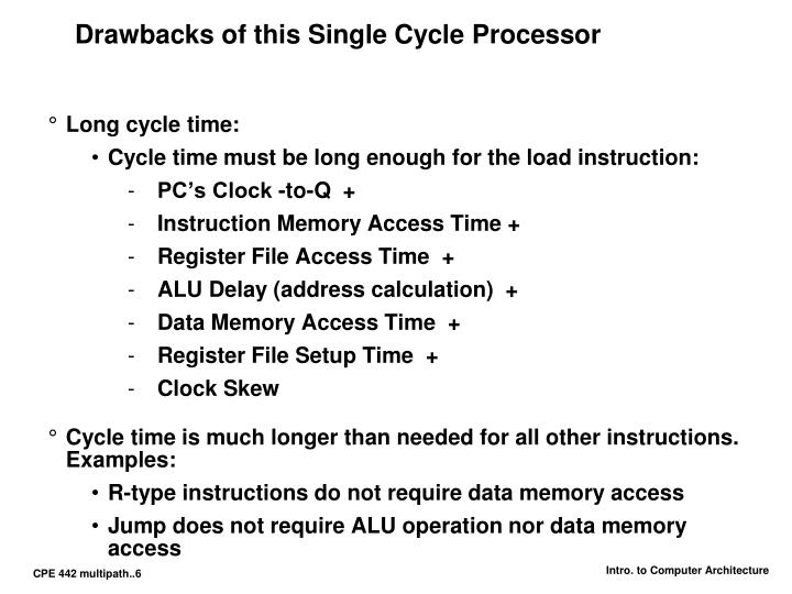 Drawbacks of this Single Cycle Processor