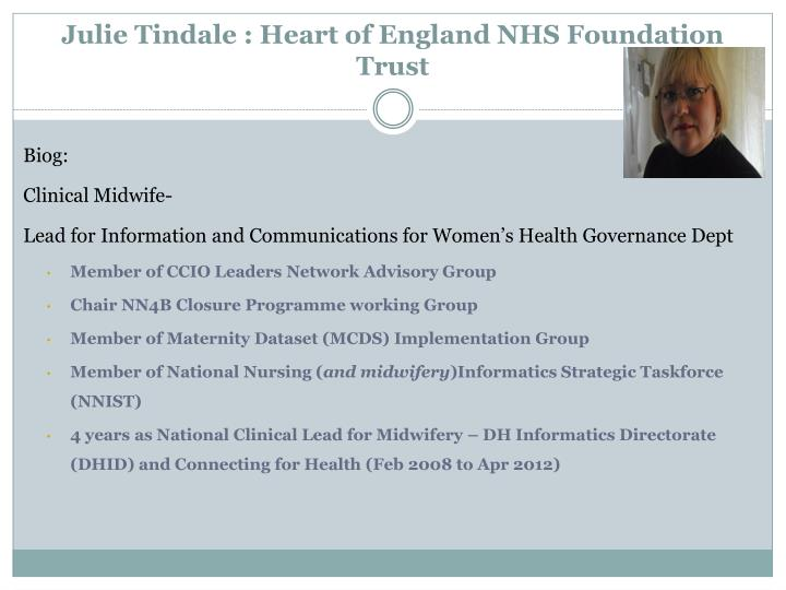 Julie tindale heart of england nhs foundation trust
