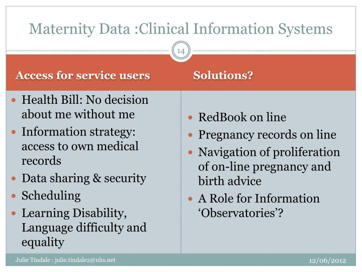 Maternity Data :Clinical Information Systems