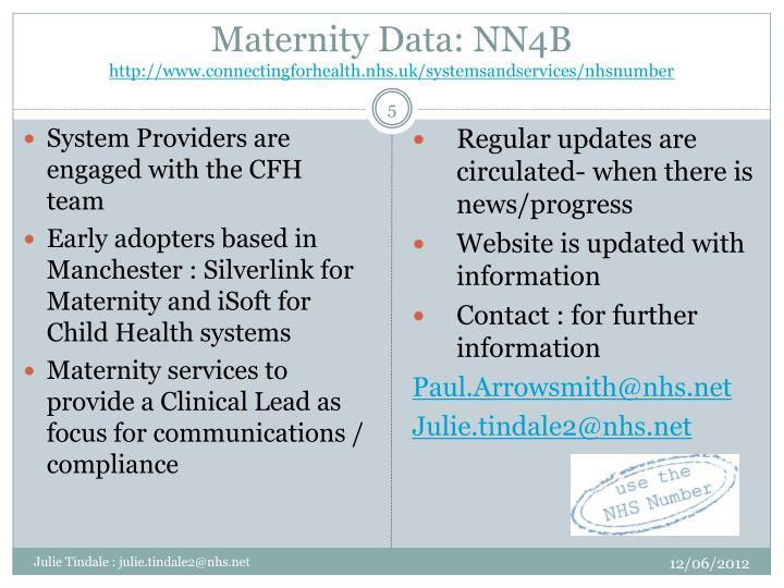 Maternity Data: NN4B