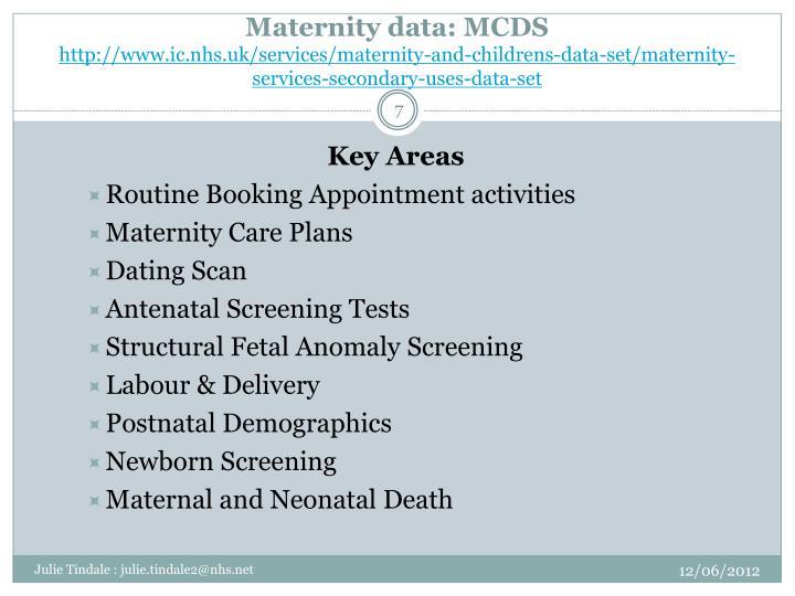 Maternity data: MCDS