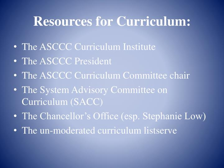 Resources for Curriculum: