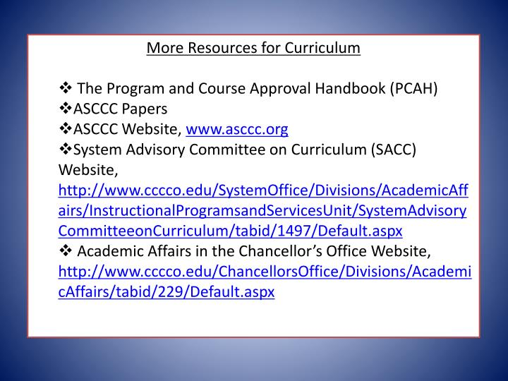 More Resources for Curriculum