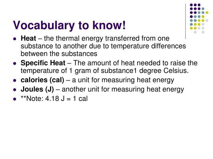 Vocabulary to know!