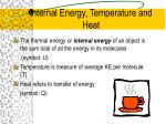 internal energy temperature and heat