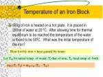temperature of an iron block