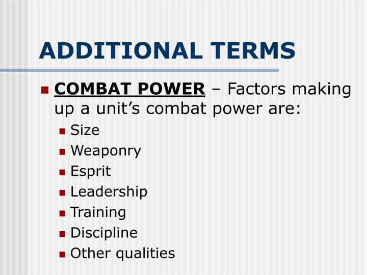 ADDITIONAL TERMS