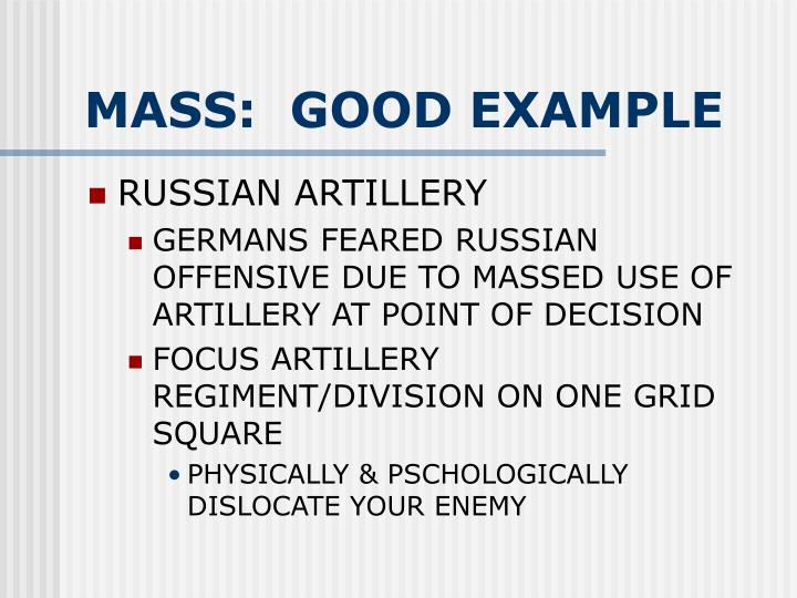 MASS:  GOOD EXAMPLE