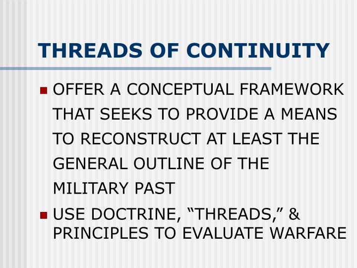 THREADS OF CONTINUITY
