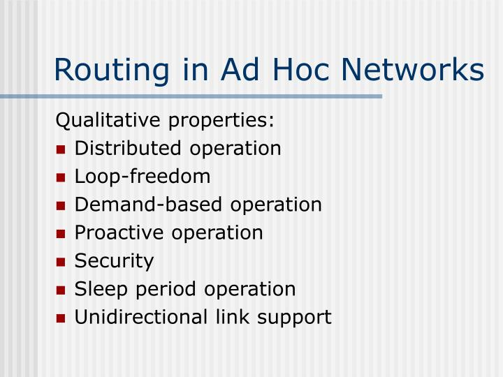 Routing in Ad Hoc Networks