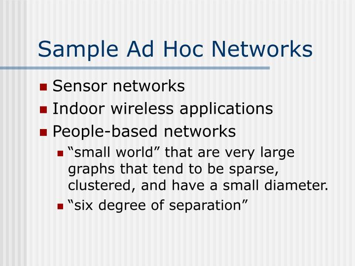 Sample Ad Hoc Networks