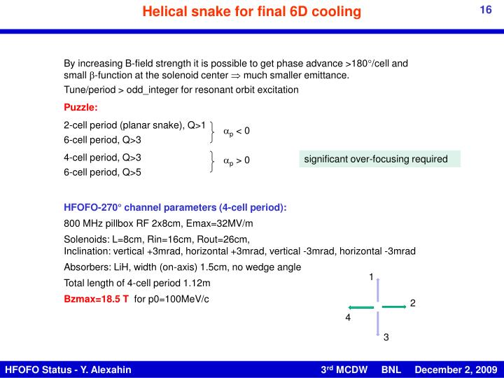 Helical snake for final 6D cooling