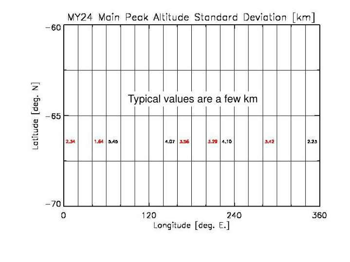 Typical values are a few km