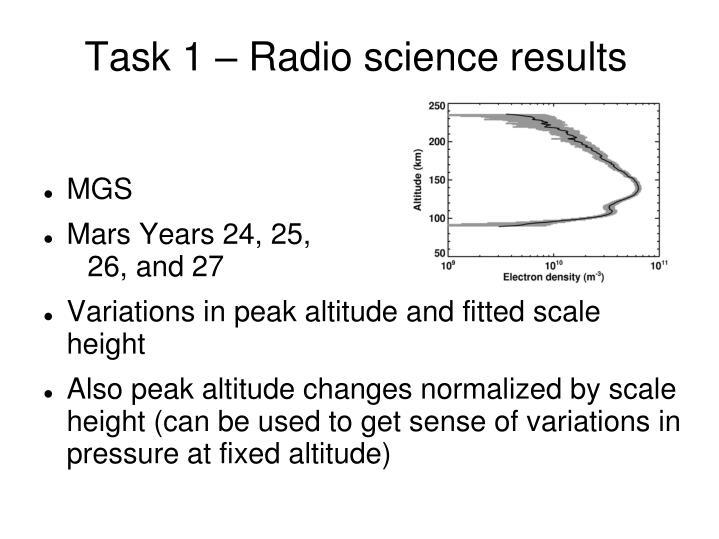 Task 1 – Radio science results