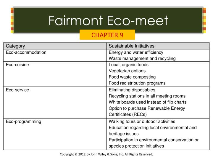 Fairmont Eco-meet