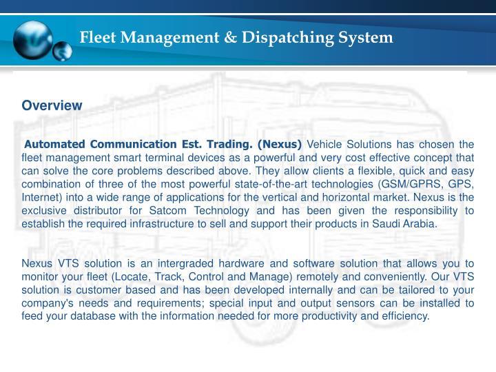 Fleet management dispatching system