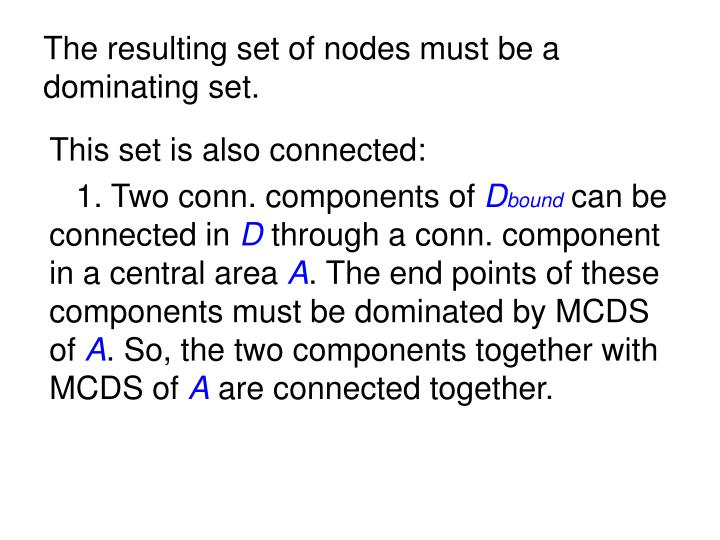 The resulting set of nodes must be a dominating set.