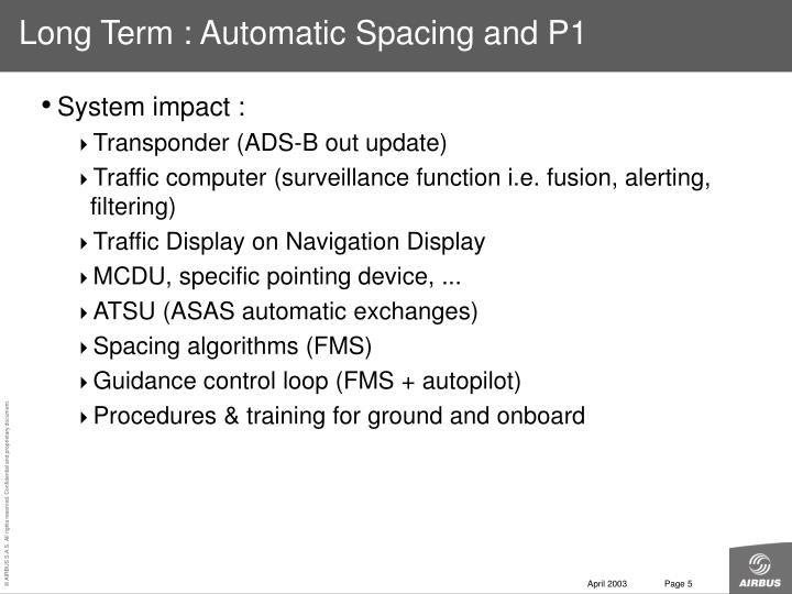 Long Term : Automatic Spacing and P1