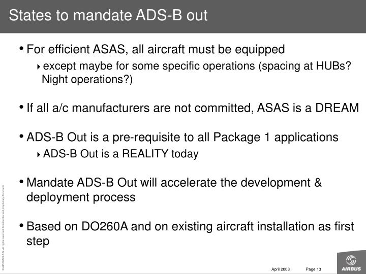 States to mandate ADS-B out