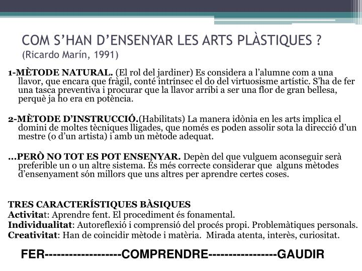 Com s han d ensenyar les arts pl stiques ricardo mar n 1991