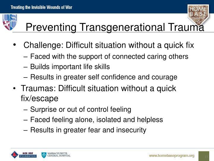 Preventing Transgenerational Trauma