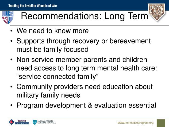 Recommendations: Long Term