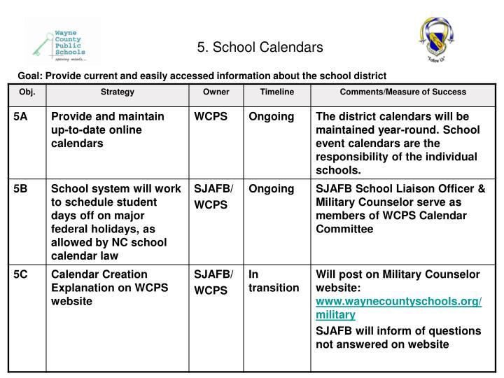 5. School Calendars
