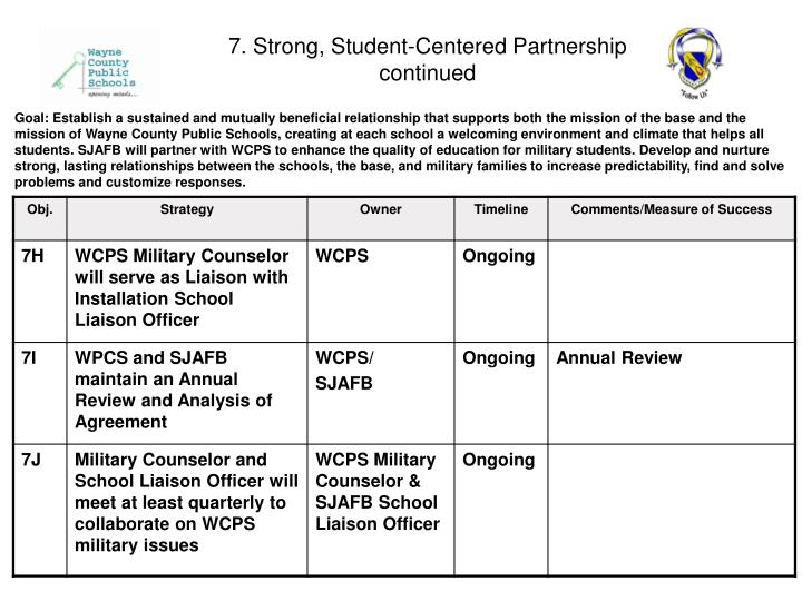 7. Strong, Student-Centered Partnership continued