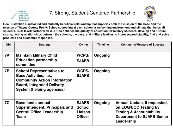 7. Strong, Student-Centered Partnership