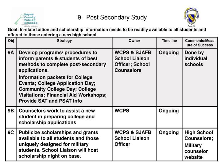 9.  Post Secondary Study