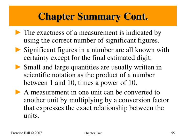 Chapter Summary Cont.