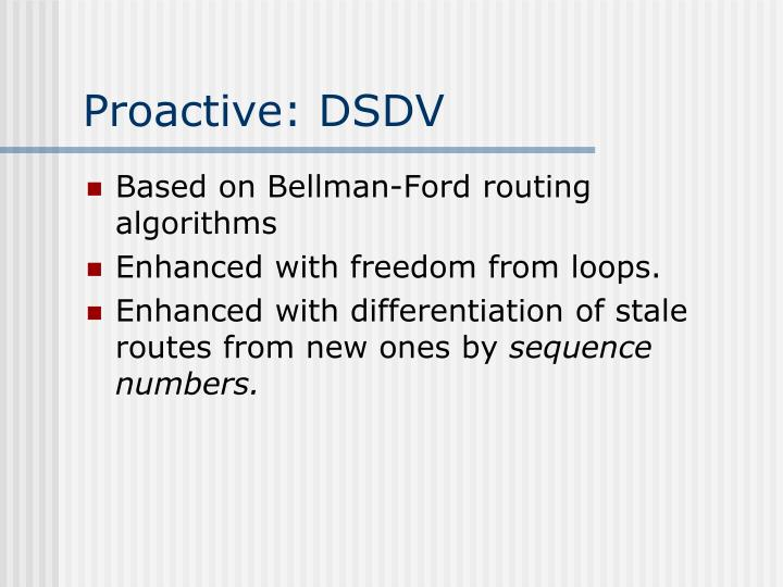 Proactive: DSDV