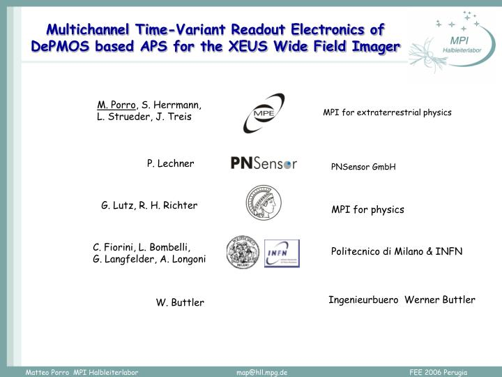 multichannel time variant readout electronics of depmos based aps for the xeus wide field imager n.