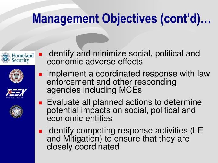 Management Objectives (cont'd)…