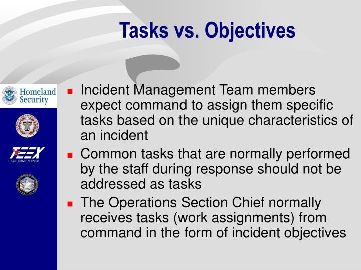 Tasks vs. Objectives