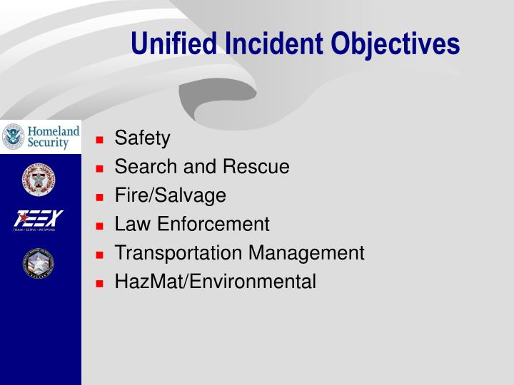 Unified Incident Objectives