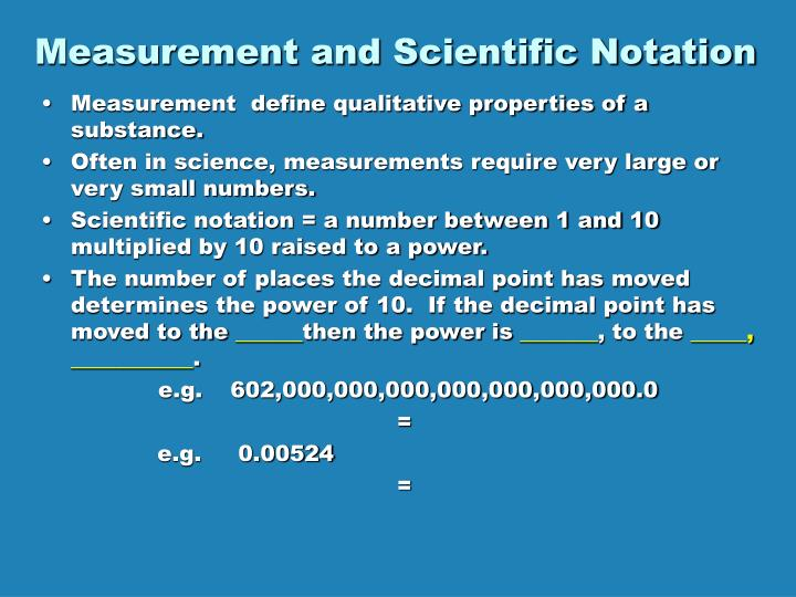 Measurement and Scientific Notation