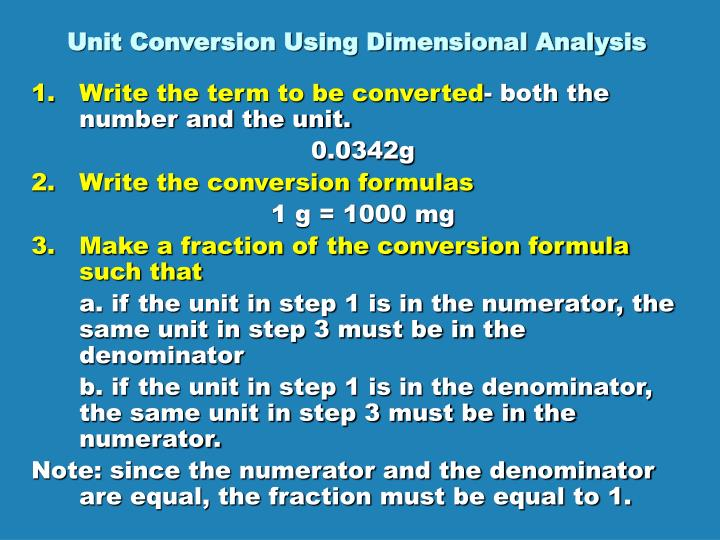 Unit Conversion Using Dimensional Analysis