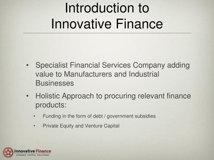 Introduction to innovative finance