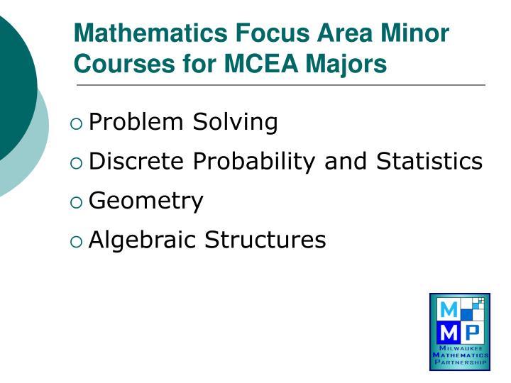 Mathematics Focus Area Minor Courses