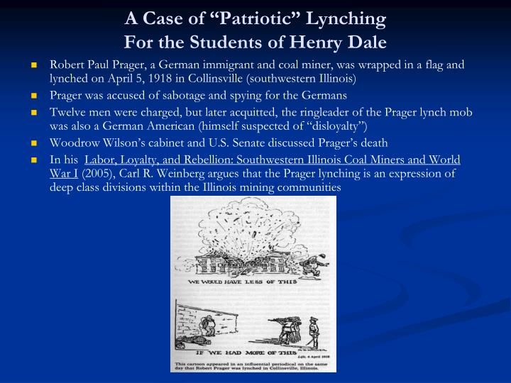 "A Case of ""Patriotic"" Lynching"