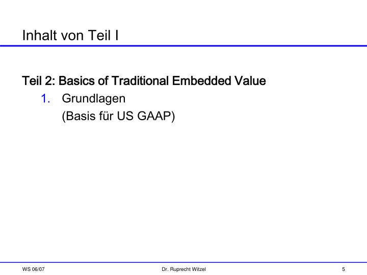 Teil 2: Basics of Traditional Embedded Value