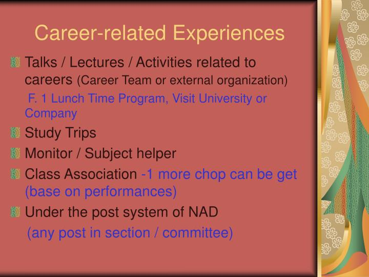 Career-related Experiences