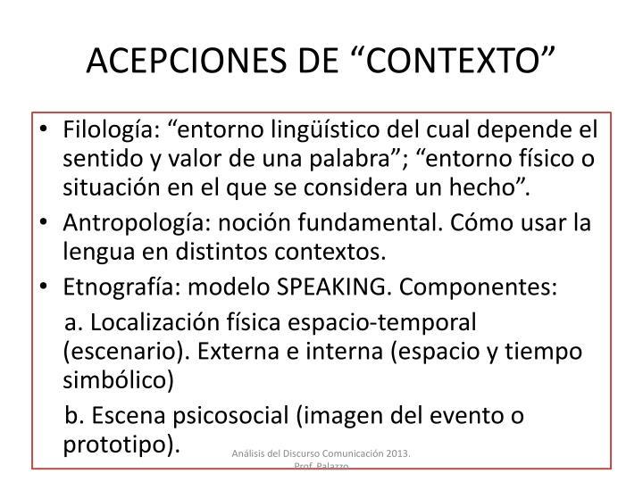 """ACEPCIONES DE """"CONTEXTO"""""""