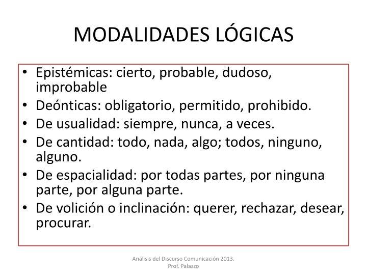 MODALIDADES LÓGICAS