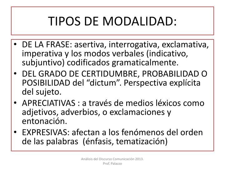 TIPOS DE MODALIDAD: